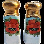 "Beautiful Bavaria 1900's Hand Painted ""Deep Burnt Orange Poppy"" 3-5/8"" Floral Pair of Salt & Pepper Shakers"