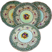 """Gorgeous Royal Worcester 1900 Hand Painted Set of 4 """"Mixed Flowers"""" 10-1/2"""" Floral Plates Made Especially For Marshall Field & Co. of Chicago"""