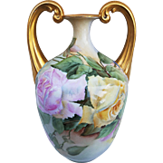 """Bavaria 1900's Hand Painted """"Pink & Yellow Roses"""" 8-1/2"""" Floral Muscle Vase by Artist, """"C. White"""""""