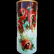 "Bavaria 1900's Hand Painted ""Deep Burnt Orange Poppy"" 6-1/2"" Floral Vase"