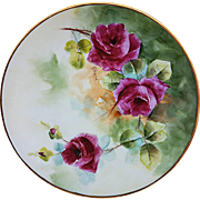 "Gorgeous Bavaria 1913 Hand Painted ""Deep Red Roses"" Floral Plate by Listed Chicago Artist, ""Gerard"""