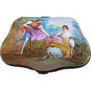 "Spectacular Sevres France Pre-1800 Hand Painted ""Romantic Couple Lunch in the Meadow"" 6-3/8"" Scenic Dresser Box Casket by the French Artist, ""Lucas"""