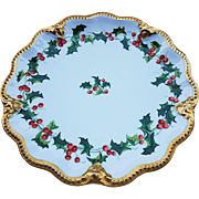 """Vintage A. Lanternier & Co. Limoges France 1900's Hand Painted """"Christmas Holly & Berry"""" 8-3/4"""" Plate"""