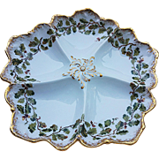 """Beautiful T & V Limoges France 1900's Hand Painted """"Acorn & Oak Leaf""""  8-1/4"""" Five Well Oyster Plate"""