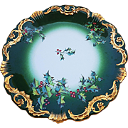 "Spectacular T & V/Tressemann & Vogt Limoges France 1900's Vintage Hand Painted ""Christmas Holly & Berry"" 9-1/2"" Scenic Plate"
