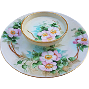 "Wonderful T & V Limoges France 1900's Hand Painted ""Apple Blossoms"" 9-1/4"" Floral Cheese Server by Artist, ""K.L. Bugg"""
