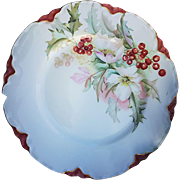 "Havilland & Co. Limoges France 1898 Hand Painted ""Christmas Flowers with Holly & Berry"" Floral Plate, Artist Signed"