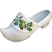 "Beautiful Limoges France ""Christmas Holly & Berry"" Floral Miniature Shoe"