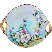 "Attractive Jean Pouyat Limoges France 1900's Hand Painted ""Apple Blossoms"" 11-1/2"" Floral Plate by the Artist ""MER"""