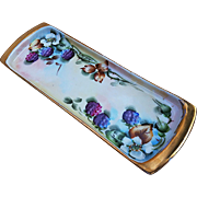 "Beautiful MZ Austria Vintage 1900's Hand Painted ""Blackberry"" 9"" Fruit Tray by Artist, ""L. Davis"""