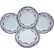"Royal Worcester 1891 Set of 8 Hand Painted ""Chain of Petite Pink, Lavender, & Yellow Enamel Roses"" Floral Dessert Plates"