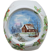"Beautiful Bavaria 1900's Hand Painted ""Winter Scene Cabin with Christmas Holly & Berry"" Scenic Vase by the Artist, ""M. Swanson"""