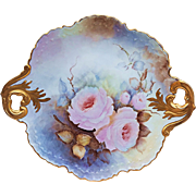 "Gorgeous Limoges 1900's Hand Painted ""Pink Roses"" 12-1/4"" Fancy Scallop Floral Plate by the Artist, ""E. Peltman"""