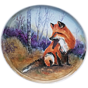 "Large Captivating Limoges 1900's Hand Painted ""Red Fox in Woodland Setting"" 14-1/2"" Scenic Tray by Artist, ""M. Swanson"""