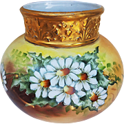 "Gorgeous J.P. Limoges France 1913 Hand Painted ""White Daisy"" Heavy Gilded Gold Floral Vase by the Artist, ""Cervenka"""