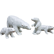 "Outstanding Vintage Germany 1920's Set of Four ""Polar Bear Mother & 3 Cubs"" Figurines"