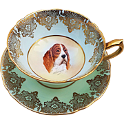 "Scarce Paragon 1920's HM Queen Mary Fine China Hand Painted ""Portrait of a Bloodhound"" Cup & Saucer by Artist, ""R. Johnson"""