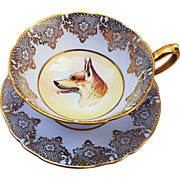 "Rare Paragon 1920's HM Queen Mary Fine China Hand Painted ""Portrait of a German Shepherd"" Cup & Saucer by Artist, ""R. Johnson"""