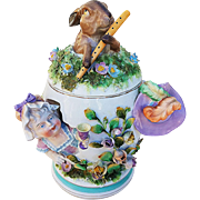 Spectacular Museum Quality Meissen 19th Century Hand Painted Children & Animal Figural Blown Out Humidor