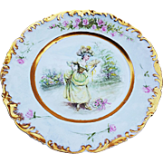 "T & V Limoges France 1900's Hand Painted ""French Aristocratic Lady"" & ""Pink Roses"" Scenic Rococo Style Plate by Artist, ""E. Saille"""