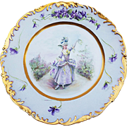 "T & V Limoges France 1900's Hand Painted ""French Aristocratic Lady"" & ""Violets"" Scenic Rococo Style Plate by Artist, ""E. Saille"""