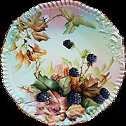 "Gorgeous T & V Limoges France Vintage 1900's Hand Painted Vibrant ""Blackberry"" Floral & Berry 9-3/8"" Plate by ""Ester Miler"""
