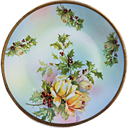 "Gorgeous Vintage Royal Rudolstadt 1900's ""Christmas Roses & Holly and Berry"" 8-1/2"" Floral Plate"