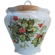 "Fabulous Germany 1900's Lifelike ""Holly & Berry"" 6-3/4"" Biscuit Jar"