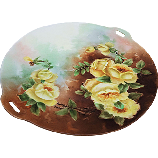 "Exceptional Omhe Germany 1900's Hand Painted Vibrant ""Yellow Roses"" 10"" Floral Plate"