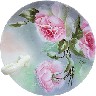 "Wonderful Bavaria 1910 Hand Painted ""Pink Roses"" Floral Nappy by Artist, ""A. Seelig"""