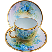 "Gorgeous JC Bavaria & Osborne Studio of Chicago 1914 Hand Painted ""Forget Me Not"" 3-Pc Cup, Saucer, & Plate Floral Set by ""Asbjorn Osborne"""