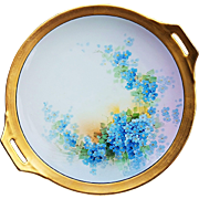 "Wonderful Thomas Bavaria & Osborne Studio of Chicago 1920's Hand Painted ""Forget Me Not"" 11"" Floral Plate by the Artist, ""Asbjorn Osborne"""