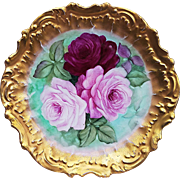 "LS & S Limoges France 1900's Hand Painted ""Roses"" Rococo Style Floral Plate"