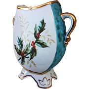"Fancy Limoges Pre-1900's Hand Painted ""Christmas Holly & Berry & Winter Scene"" Scenic & Footed Vase by the Artist, ""C. Cameron"""