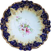 "Gorgeous RS Prussia 1900's Cobalt Blue ""Iris Flowers"" 10-1/2"" Scallop Floral Bowl"