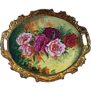"Spectacular Victoria Austria 1900's Hand Painted ""Red, Deep Pink, Pink, & Burnt Orange Carnations"" 13"" Fancy Scallop Floral Tray by ""Th. Kreis"""