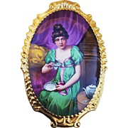 "Museum Quality 13-1/4"" Limoges France 1900 Hand Painted ""Lady Having Tea"" Rococo Style Scenic Plaque by Listed Artist, ""E. Furland"""