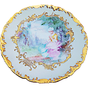 "Gorgeous T & V Limoges France 1900's Hand Painted Portrait of A ""Lady Sitting In a Park"" 9-1/4"" Scenic Rococo Style Plate"
