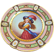 "Beautiful Royal Vienna Vintage 1900's Hand Painted ""Muff Girl"" 9-1/2"" Portrait Plate"