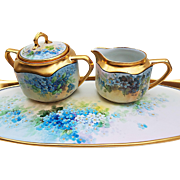 "Osborne Studio of Chicago & Germany Silesia 1920's Hand Painted ""Forget Me Not"" Floral Sugar & Creamer by ""Asbjorn Osborne"""