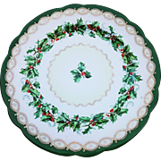"Attractive Vintage Imperial Austria 1900's ""Christmas Holly and Berry"" Seasonal Decorated Plate"
