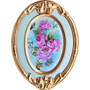 "Gorgeous Fraunfelter China 1920's Hand Painted ""Pink Roses"" & Heavy Gold Gilding 10-3/4"" Floral Plaque"