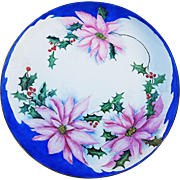 "Gorgeous Bavaria 1900's Hand Painted ""Christmas Poinsettia & Holly & Berry"" 10-1/4"" Floral Plate by Artist, ""Grace Turner"""