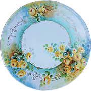 "Beautiful Jean Pouyat Limoges France 1900's Hand Painted ""Yellow Roses"" 10-1/2"" Floral Plate"