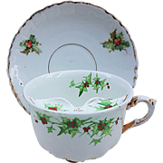 "Scarce Germany 1900 Hand Painted ""Christmas Holly & Berry"" Mustache Cup & Saucer Marked ""Uncle Xmas 1900"""
