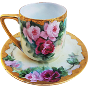 "Phenomenal Rosenthal Bavaria 1900's Hand Painted Vibrant ""Red & Pink Roses"" Cup & Saucer Set"