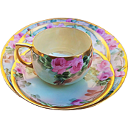 "Fabulous Bavaria Vintage 1900's Hand Painted ""Pink Roses"" 4-Pc Floral Cup, Saucer, & 2 Plates Set by Artist, ""H. Reynolds"""