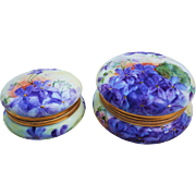 "Beautiful T & V Limoges France Vintage 1900's Hand Painted Pair of Vibrant ""Violets"" Floral Dresser Boxes by the Artist, ""F. Forr"""