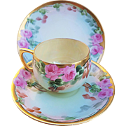 "Fabulous Germany Vintage 1900's Hand Painted ""Pink Roses"" 3-Pc Floral Cup, Saucer, & Plate Set by Artist, ""H. Reynolds"""