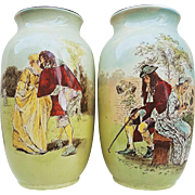 "Gorgeous Royal Doulton Vintage 1900's Hand Painted Pair of Series Sir Roger De Coverley 7-3/4"" Scenic Vases"